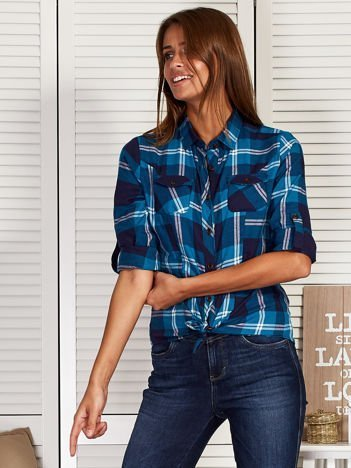 Koszula damska z motywem kratki niebieska