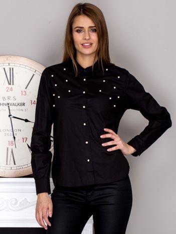 Koszula damska z perełkami czarna