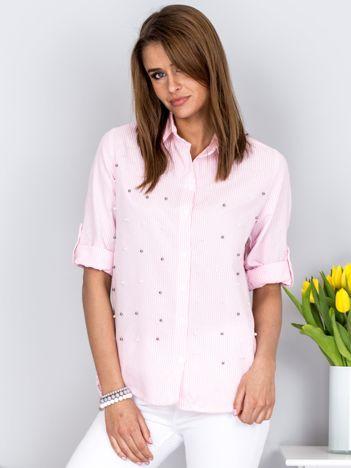 Koszula jasnoróżowa w paski z perełkami