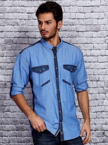 Koszula męska niebieska z denimowymi wstawkami