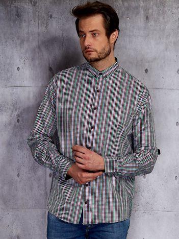 Koszula męska w drobną kolorową kratkę PLUS SIZE