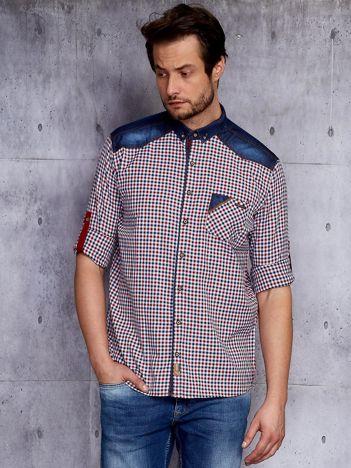 Koszula męska w kratkę z denimowym wykończeniem