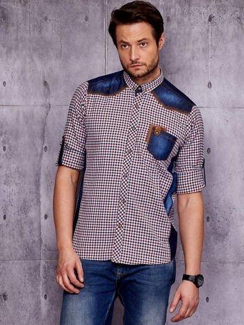Koszula męska z denimowymi wstawkami