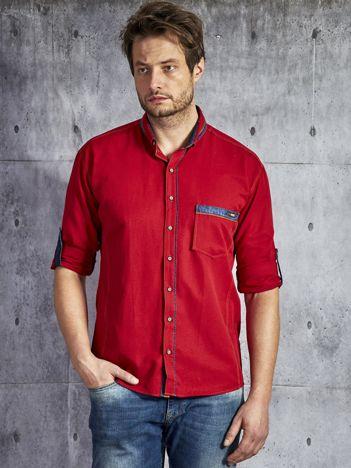 Koszula męska z kieszenią bordowa PLUS SIZE