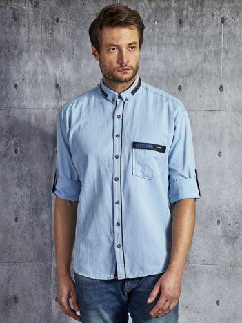 Koszula męska z kieszenią jasnoniebieska PLUS SIZE