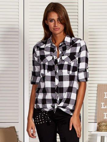 Koszula w kratę z kieszeniami czarna