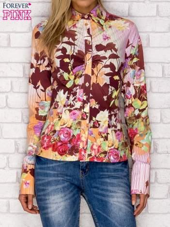 Koszula z nadrukiem kwiatów i pasków fioletowa