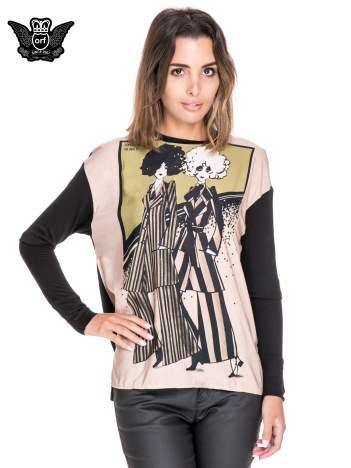Koszula z satynowym przodem i nadrukiem kobiet