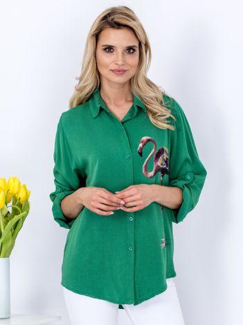 Koszula zielona z flamingiem