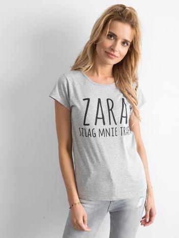 Koszulka damska z napisem szara