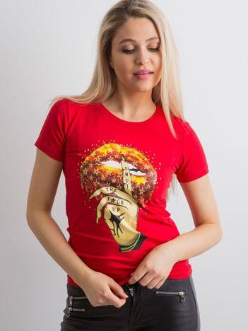 Koszulka damska z printem czerwona