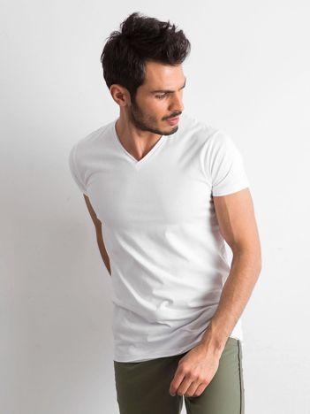 Koszulka męska z dekoltem w serek biała