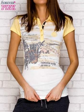 Koszulka polo z nadrukiem jasnożółty