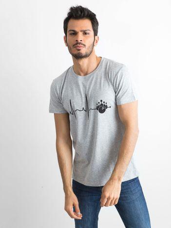 Koszulka z bawełny z nadrukiem szara