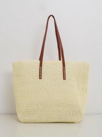 Kremowa pleciona torba shopper