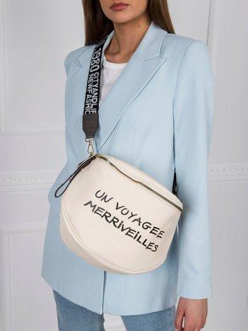 Kremowa torebka z napisem