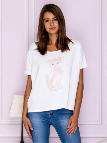 Krótka bluzka oversize z kotem biało-różowa