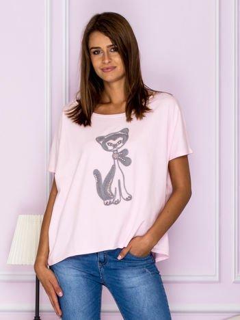 Krótka bluzka oversize z kotem różowa