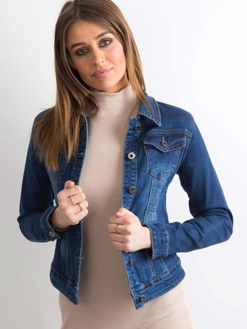 Krótka damska kurtka jeansowa niebieska