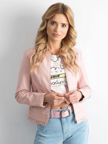 Krótka kurtka z ekoskóry różowa