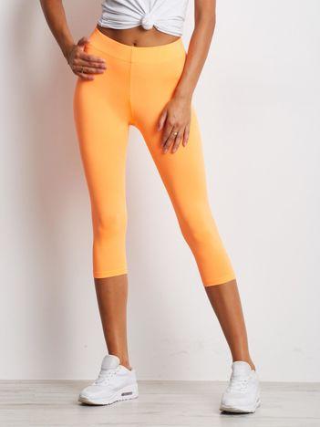 Krótkie cienkie legginsy sportowe fluo pomarańczowe