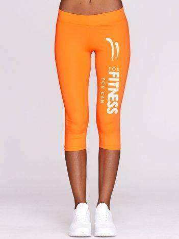 Krótkie kryjące legginsy do fitnessu z nadrukiem pomarańczowe