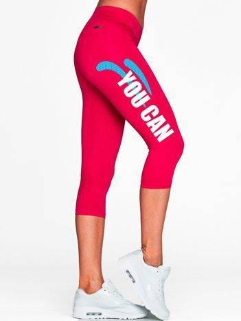 Krótkie kryjące legginsy sportowe z nadrukiem fuksjowe