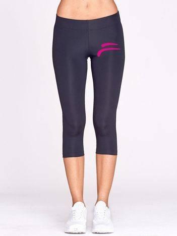 Krótkie legginsy do biegania ze sportowym nadrukiem grafitowe