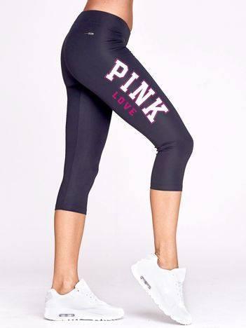 Krótkie legginsy fitness z nadrukiem PINK LOVE grafitowe