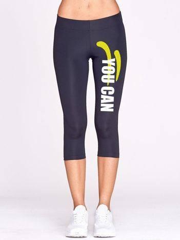 Krótkie legginsy fitness ze sportowym napisem grafitowe