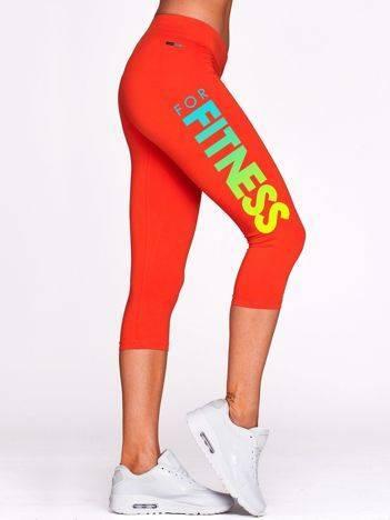 Krótkie legginsy sportowe z ombre nadrukiem ciemnopomarańczowe