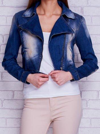 Kurtka jeansowa ramoneska z przetarciami niebieska
