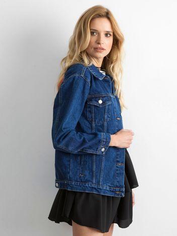 Kurtka jeansowa z naszywką z tyłu niebieska