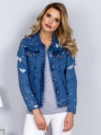 Kurtka jeansowa z perełkami i przedarciami niebieska
