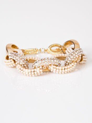 LOLITA Bransoletka złota zdobiona perełkami i cyrkoniami