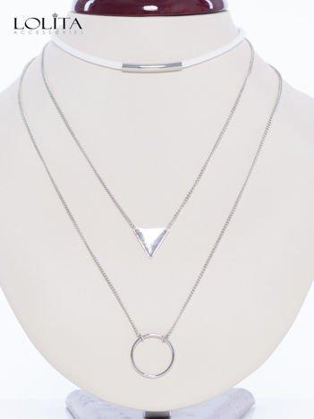 LOLITA Naszyjnik biało- srebrny zestaw CHOKER + podwójny łańcuszek