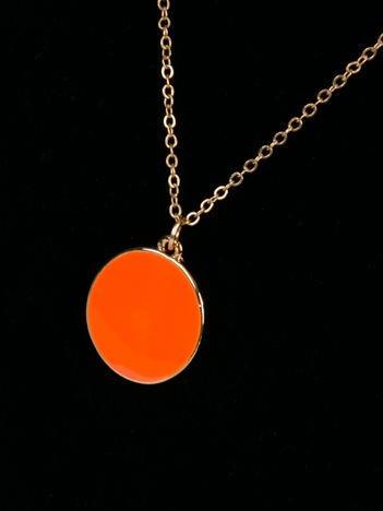 LOLITA Naszyjnik złoty długi z pomarańczową zawieszką