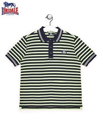 LONSDALE Granatowa koszulka polo chłopięca w paski