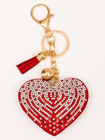 LOVE Czerwony Brelok Serce z chwostem