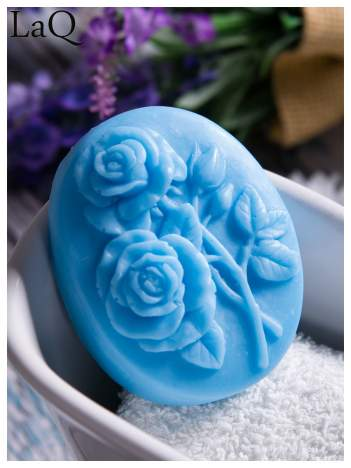 LaQ Mydełko Dwie róże - niebieski / Zapach - wata cukrowa BEZ SLS i SLES