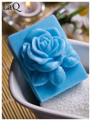 LaQ Mydełko Róża w prostokącie - niebieski / Zapach - wata cukrowa BEZ SLS i SLES
