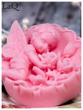 LaQ Mydełko duże Anioł z różami w medalionie - różowy / Zapach - truskawka BEZ SLS i SLES