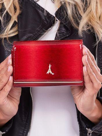 Lakierowany czerwony portfel damski ze skóry naturalnej