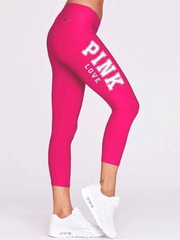 Legginsy 3/4 do fitnessu z nadrukiem PINK LOVE ciemnofuksjowe