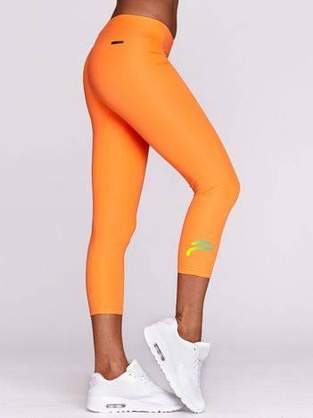 Legginsy sportowe z kolorowym logo fluo pomarańczowe