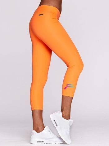 Legginsy sportowe z ombre symbolem fluo pomarańczowe