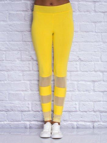 Legginsy z transparentnymi wstawkami żółte