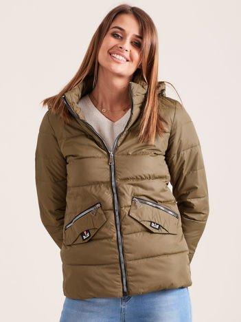 Lekka przejściowa kurtka z odpinanym kapturem khaki