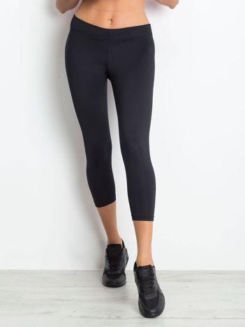 Lekko ocieplane legginsy fitness o długości 3/4 ciemnogranatowe
