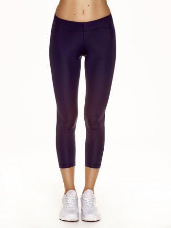 Lekko ocieplane legginsy fitness o długości 3/4 jasnogranatowe